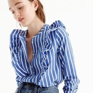 J. Crew Striped button-up shirt with ruffles